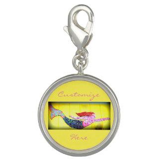Breloque Avec Photo sirène rose de mosaïque de natation