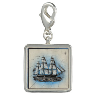 Breloque Copie marine de bateau noir avec le cadre bleu
