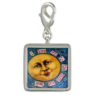 Breloque Je t'aime à la lune et au charme arrière, visage