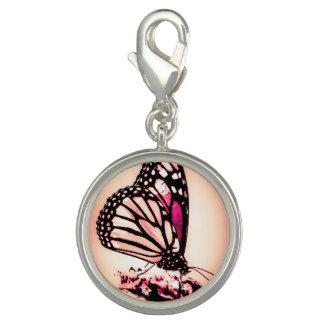 Breloques Avec Photo Papillon de monarque, rose