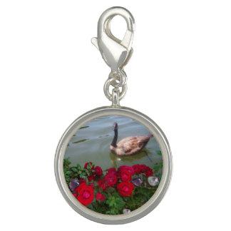Breloques Oie dans un charme d'étang de rose