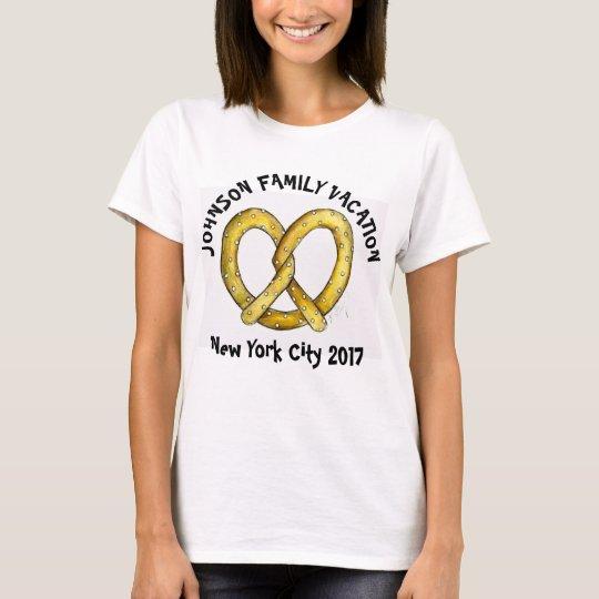 Bretzel personnalisé New York NYC de vacances de T-shirt