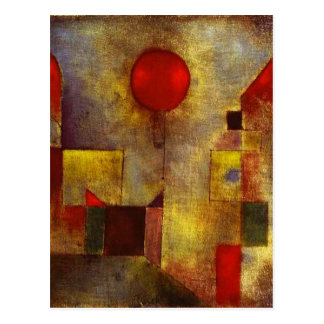 Briefkaart van de Ballon van Paul Klee het Rode