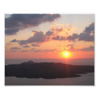 Briljante Zonsondergang Santorini Foto Afdruk