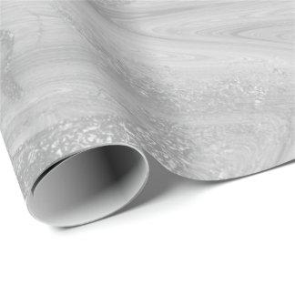 Brillant métallique fondu de marbre gris blanc papier cadeau