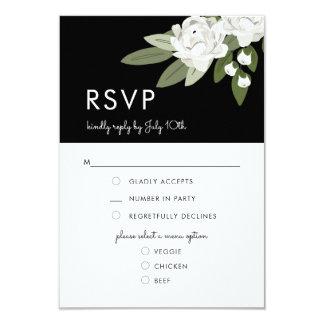 Brins floraux blancs de mariage, carte de menu de