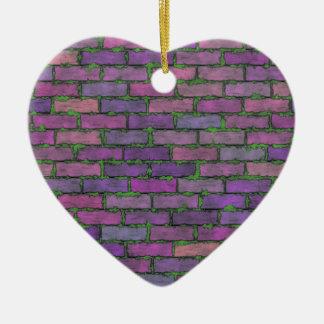 Briques pourpres ornement cœur en céramique