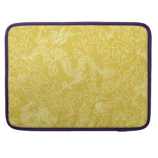 Broderie asiatique de dragon d'or poche macbook pro