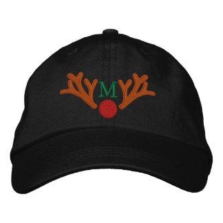 Broderie rouge personnalisée de renne de nez de casquette de baseball