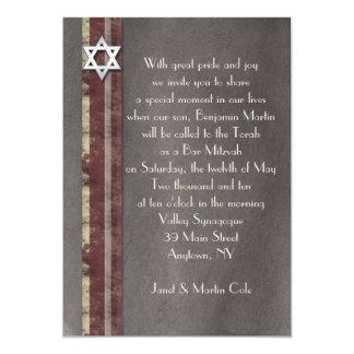 Brown a barré l'invitation de Mitzvah de barre Carton D'invitation 12,7 Cm X 17,78 Cm