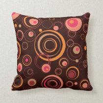 Brown/cercles espiègles de rose rétros oreiller