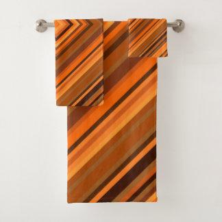 Brown et ensemble orange de serviette de motif de