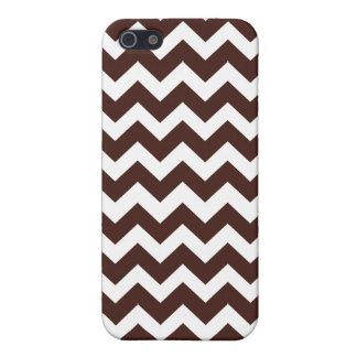 Brown et motif blanc de Chevron Étuis iPhone 5