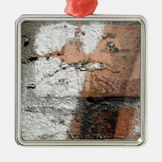 Brown grunge et mur de briques blanc ornement carré argenté