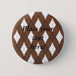 Brown personnalisé et boutons blancs de Jacquard Badge Rond 5 Cm