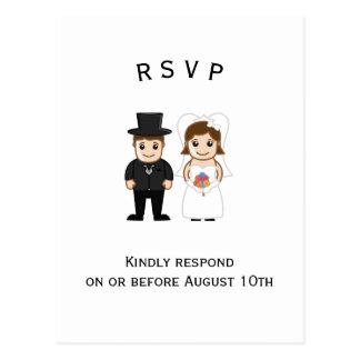 Bruid & Bruidegom - Briefkaart RSVP