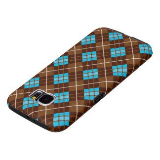 Bruine en Blauwe Professionele Plaid Samsung Galaxy S6 Hoesje