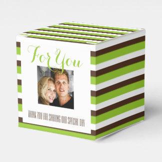 Bruine groene de strepenFOTO van het huwelijk Bedankdoosjes