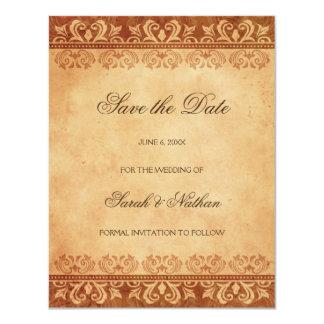 Bruine grunge bewaart de het huwelijksaankondiging 10,8x13,9 uitnodiging kaart