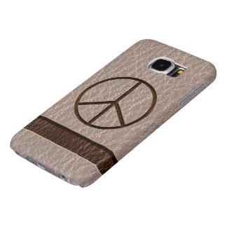 Bruine Zacht van de Vrede van de leder-blik Samsung Galaxy S6 Hoesje
