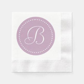 Brume mauve/monogramme blanc de point serviette en papier