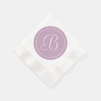 Brume mauve/monogramme blanc de point serviettes jetables