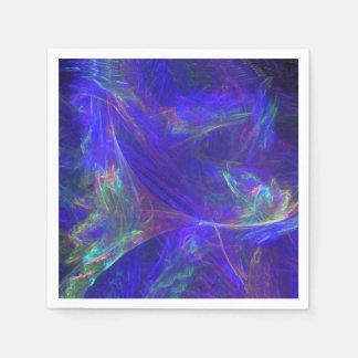 Brumes colorées bleues abstraites serviettes en papier