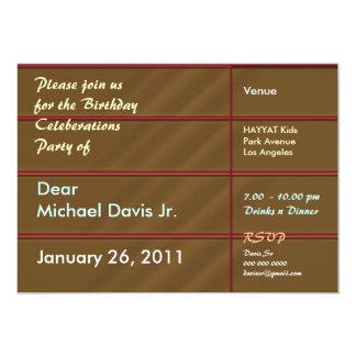 Brun chocolat riche avec le texte témoin carton d'invitation  12,7 cm x 17,78 cm
