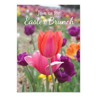 Brunch de Pâques de tulipes de ressort Carton D'invitation 11,43 Cm X 15,87 Cm