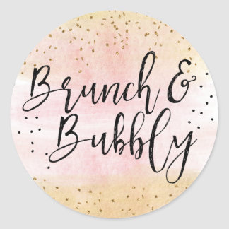 Brunch de rose et d'or et douche nuptiale sticker rond