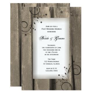 Brunch en bois de mariage de courrier de grange carton d'invitation  12,7 cm x 17,78 cm