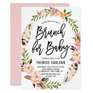 Brunch floral de baby shower de guirlande de carton d'invitation  12,7 cm x 17,78 cm