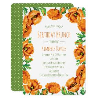 Brunch orange d'anniversaire de point de pavot carton d'invitation  12,7 cm x 17,78 cm