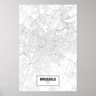 Brussel, zwart België (op wit) Poster