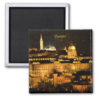 Budapest la nuit magnet carré