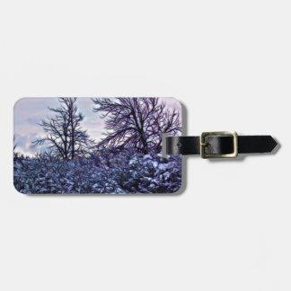 Buissons foncés en hiver étiquette à bagage