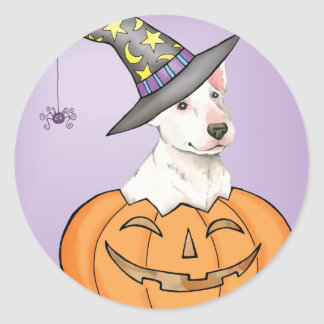 Bull-terrier Halloween Sticker Rond