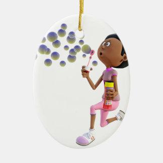 Bulles de soufflement de fille d'Afro-américain de Ornement Ovale En Céramique