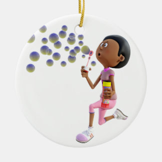 Bulles de soufflement de fille d'Afro-américain de Ornement Rond En Céramique