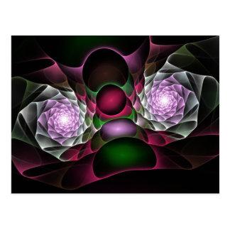 Bulles et art noirs pourpres roses de fractale de carte postale