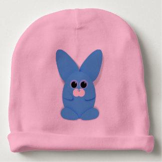 Bunn bleu sur le casquette rose de bébé bonnet pour bébé