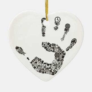 Bureau de main ornement cœur en céramique