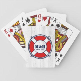 Bureau lifebuoy de logo de monogramme nautique de jeu de cartes