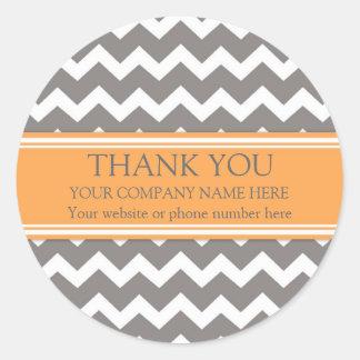Business Thank You Company Chevron gris orange Sticker Rond