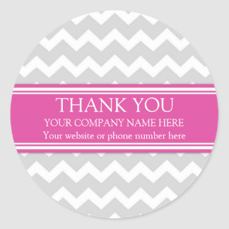 Business Thank You Company Chevron gris rose Sticker Rond