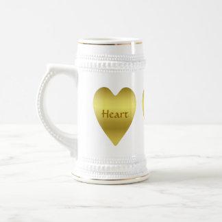 C?ur d'or mignon et romantique chope à bière