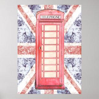 cabine de téléphone britannique rouge sur Union Ja