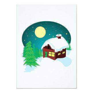 Cabine d'hiver carton d'invitation  12,7 cm x 17,78 cm