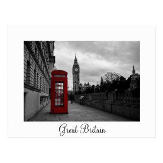 Cabine téléphonique rouge, carte postale blanche