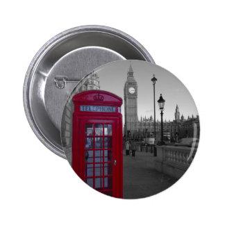 Cabine téléphonique rouge de Londres Badge Rond 5 Cm